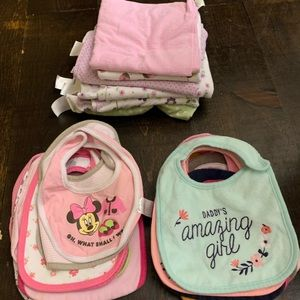 Baby girls bibs and blankets lot